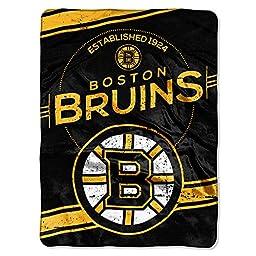 NHL Boston Bruins Stamp Plush Raschel Blanket, 60\