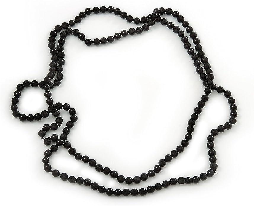 Jewelry set long necklace bracelet black bead glas Rondelles bullet tassel maroon