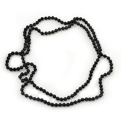 b6c73c080395 Collar Perla de vidrio negro Largo - longitud 140 cm  Amazon.es  Joyería