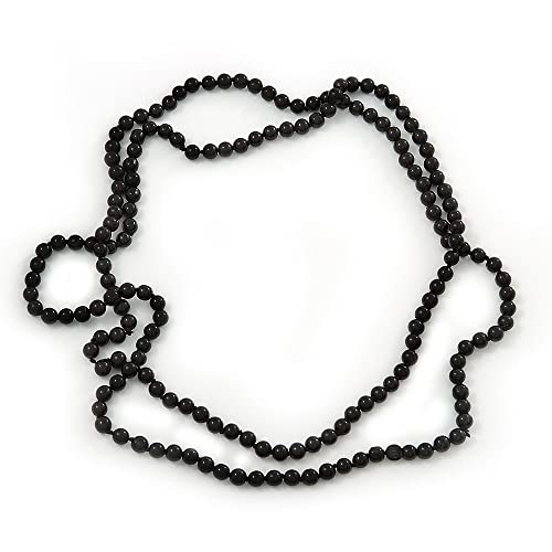 280ac152bcf4a Long Black Glass Bead Necklace - 140cm Length/ 8mm