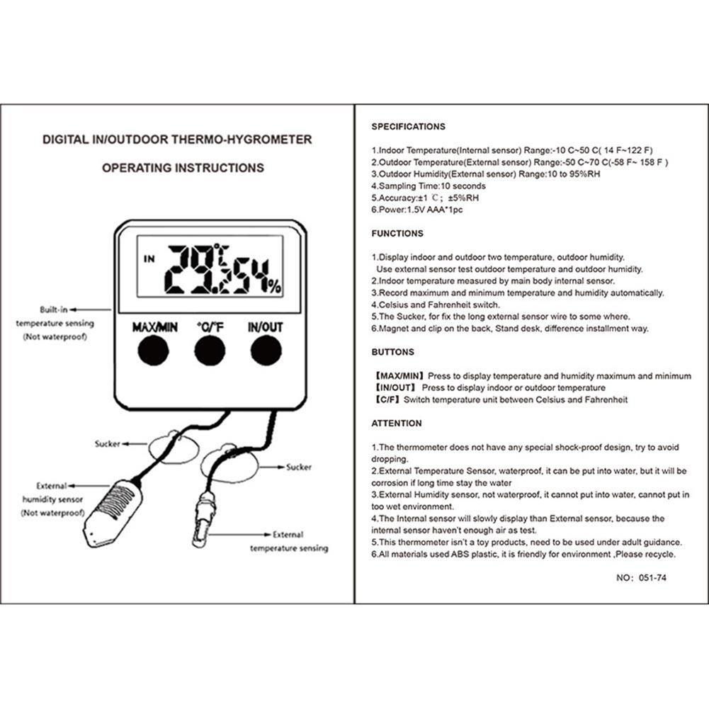 Temperatur Und Feuchtigkeit Innen Vanpower Monitor Hygrometer 4 Way Switch Internal Thermometer D Inkubator Eier Zu Wassertank De Reptile Flssigkristallanzeige Digital