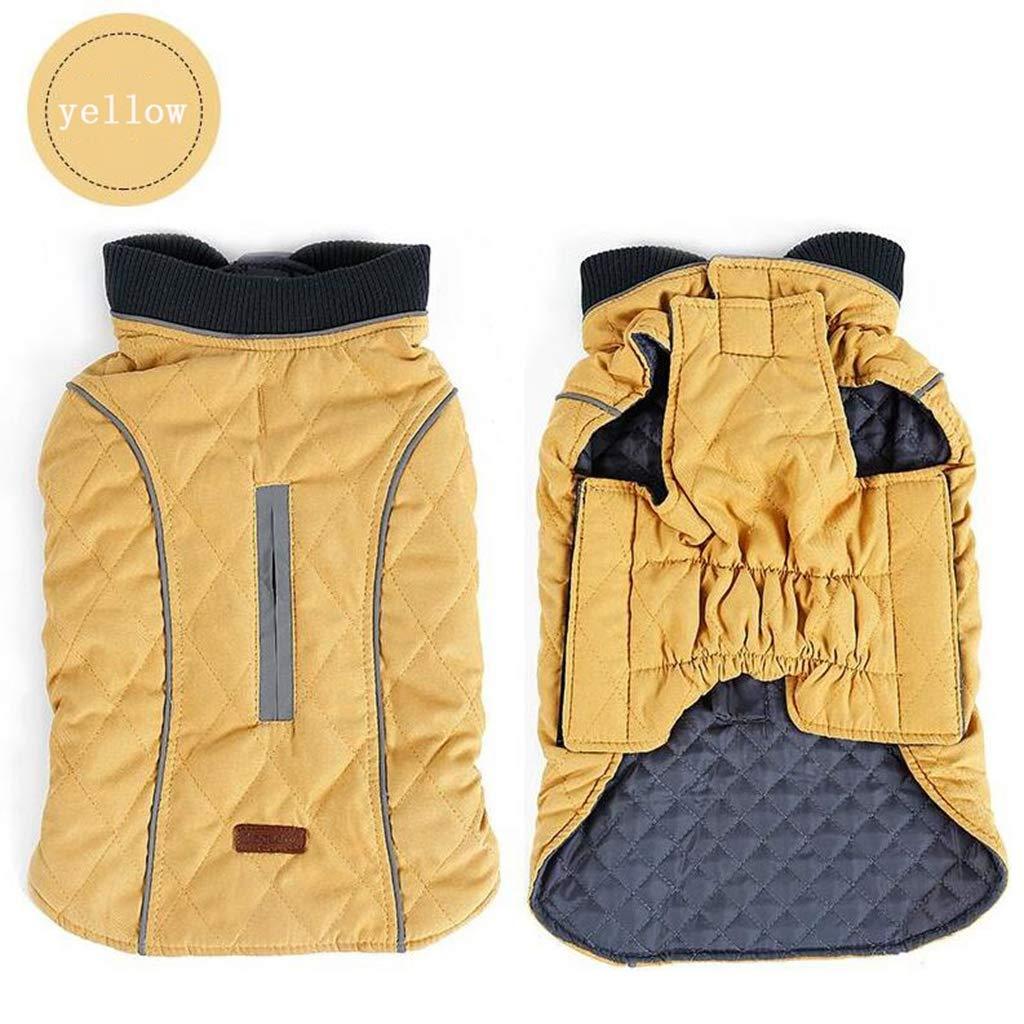 CJN Pet Winter Clothes Large Medium Dog Outdoor Warm Vest Retro Style Giallo Caldo,XXL