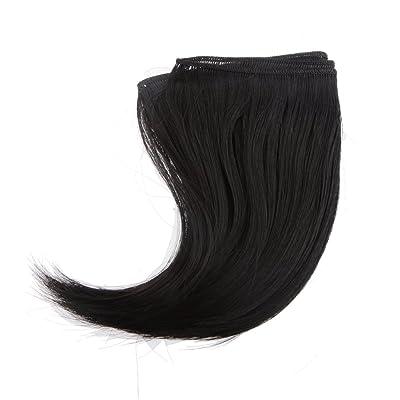 15x100cm DIY Poupée Perruque Welf Cheveux Postiches pour 1/3 1/4 BJD SD Dolls - Noir, 15 x 100cm
