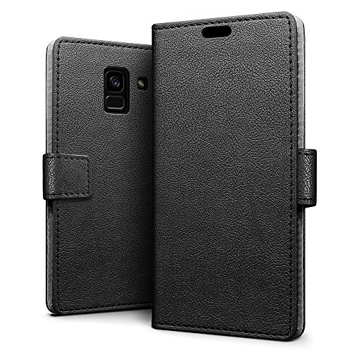 SLEO Case for Samsung Galaxy A8 Plus(2018)SM-A730, Luxury Wallet Flip PU Leather Protective Case Cover with Card Slot and Stand Feature for Samsung Galaxy A8 Plus(2018)SM-A730 - Black