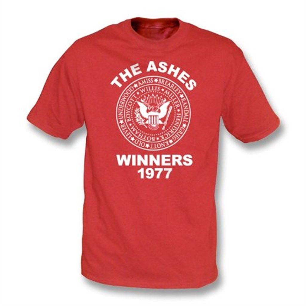 Inglaterra la camiseta 1977 colorea de los ganadores de las cenizas Xx-Grande, colorea 1977 rojo f30417