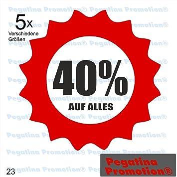 """6d0fe3ff68703 5er Set verschiedene Größen """"40% AUF ALLES"""" Aufkleber  Schaufenster Reduziert Ausverkauf Schlussverkauf"""