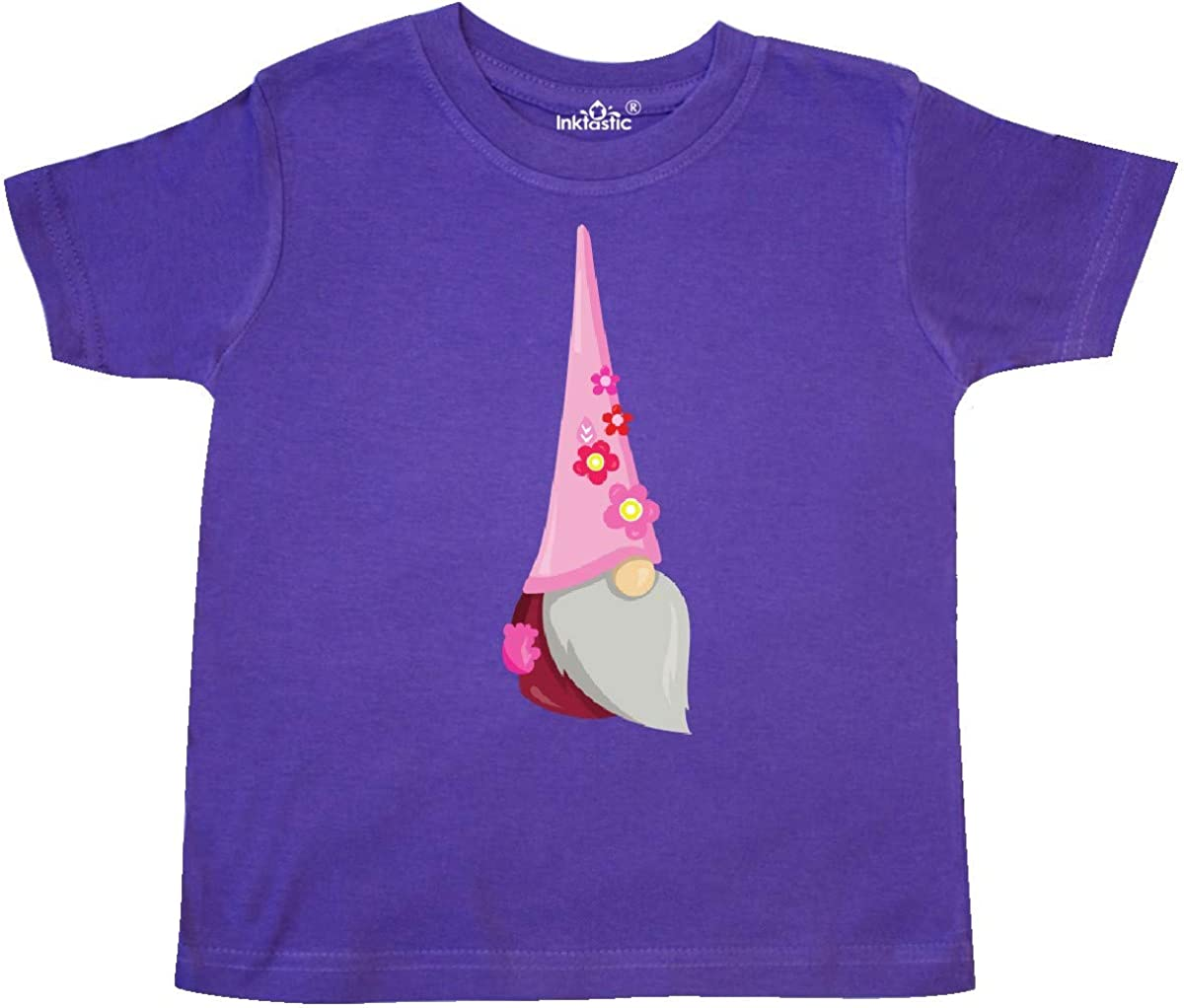 inktastic Cute Gnome Pink Flowers Toddler T-Shirt Gnome with Pink Hat