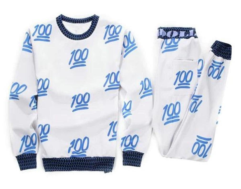 Easy Mens' Emoji 100 Joggers Sweatpants Sweatshirts 3D Printed Tracksuit White S