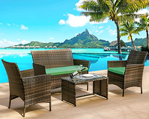 Leisure Zone 4 PC Rattan Patio Furniture Set Wicker Conversation Set Garden Lawn Outdoor Sofa Set with Cushioned Seat and Tempered Glass Table Top (Cushion Green)