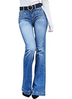 Yonglan Pantalones Vaqueros De Mujer Cintura Alta Slim Fit ...