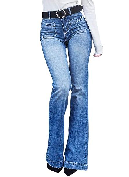b9e10ef8020 Aleumdr Mujer Pantalones Acampanados Vaqueros Cintura Alta Jeans de Mujer  Size S-XXL: Amazon.es: Ropa y accesorios
