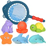 Ocean Sea Animals, 7 Pack Assorted Shark Fishing Net Bathtub Toy Set, Fun Baby Floating Bath Toys for Kids Infant Toddlers