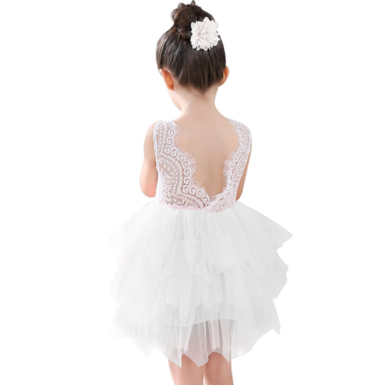 Miss Bei Lace Back Flower Girl Dress,Kids Cute Backless DressFlower Girl Dress Lace Applique Dress (White, 3-4 Years/110cm)