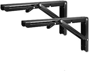 VintageBee 2 Pcs Folding Shelf Brackets 8 inch Black Heavy Duty Metal Triangle Table Bench Collapsible Shelf Bracket, Shelf Support Bracket Hinge Wall Mounted