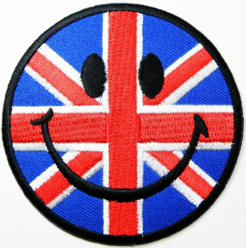 UPC 885849283209, Smiley Happy Face Patches (Union Jack Flag) Patches Embroidered Iron on Patch by Jumboshop