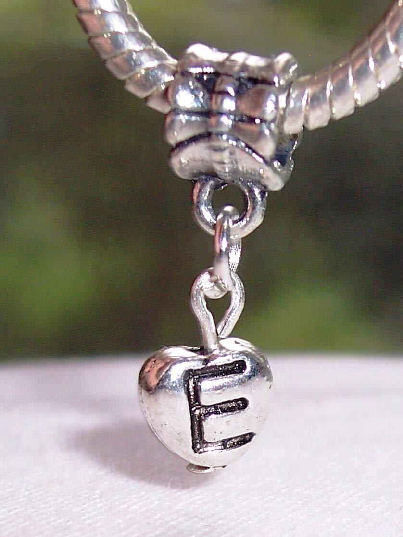 Letter E Heart Alphabet Initial Dangle Charm for Silver European Bead Bracelets id-476