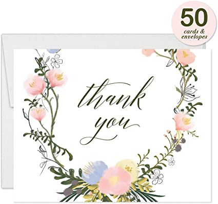 Folded Blank All Occasion Christening Baby Shower Bride Groom Wedding Gift Thanks Note Excellent Value Thank You Cards VT0048 Digibuddha Delicate Floral Blooms Thank You Notecards with Envelopes Pack of 50