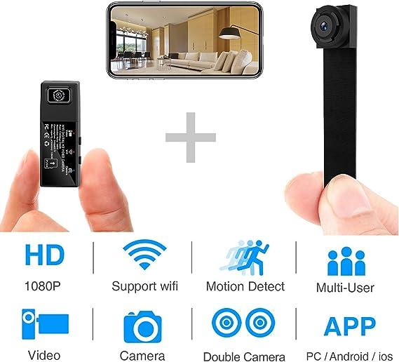 WESSD Mini c/ámara esp/ía Oculta WiFi visi/ón Nocturna HD 1080P detecci/ón de Movimiento c/ámara de Video peque/ña para detecci/ón de Movimiento de visi/ón Nocturna Interior//hogar