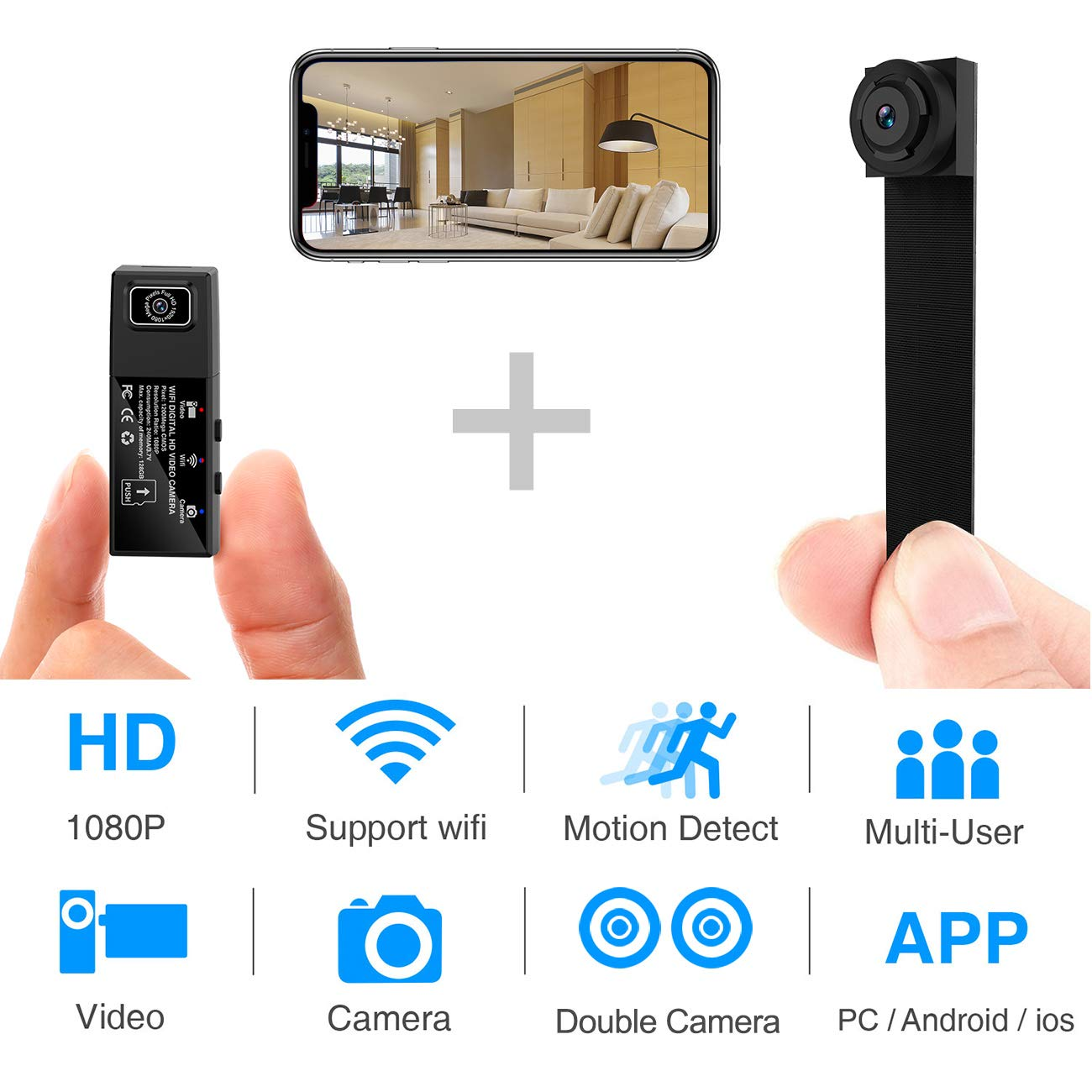 Hidden Spy Camera,1080P WiFi Mini Camera Portable Wireless Security Cameras Video Recorder IP Cameras Nanny Cam with DIY Interchangable Lens/Motion Detection for Indoor Outdoor Monitoring by WBESEV (Image #1)
