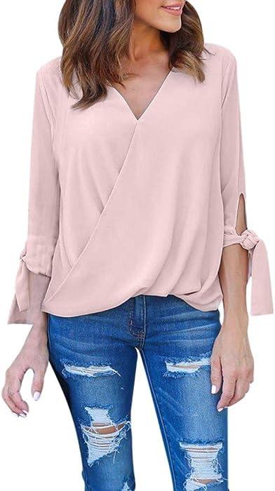 3efd94516 YANG-YI Women V Neck Chiffon Long Sleeve Tops T-Shirt Ladies Casual Blouses