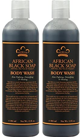 Nubian African Black Soap Body Wash Pack of 2 With Aloe Vera and Vitamin E, 13 fl. oz. Each