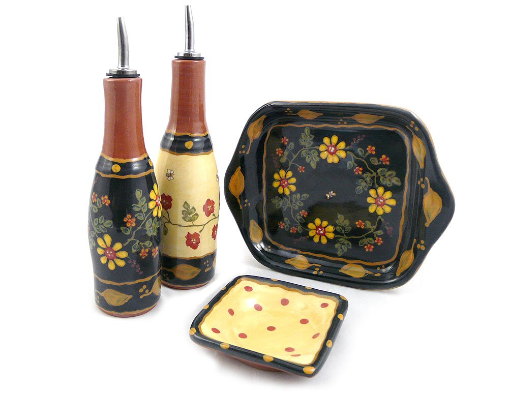 American Made Terra Cotta Pottery Oil and Vinegar Serving Set with Cruets, Dipping Dish, and Serving Tray, Romany Old Rose Motif