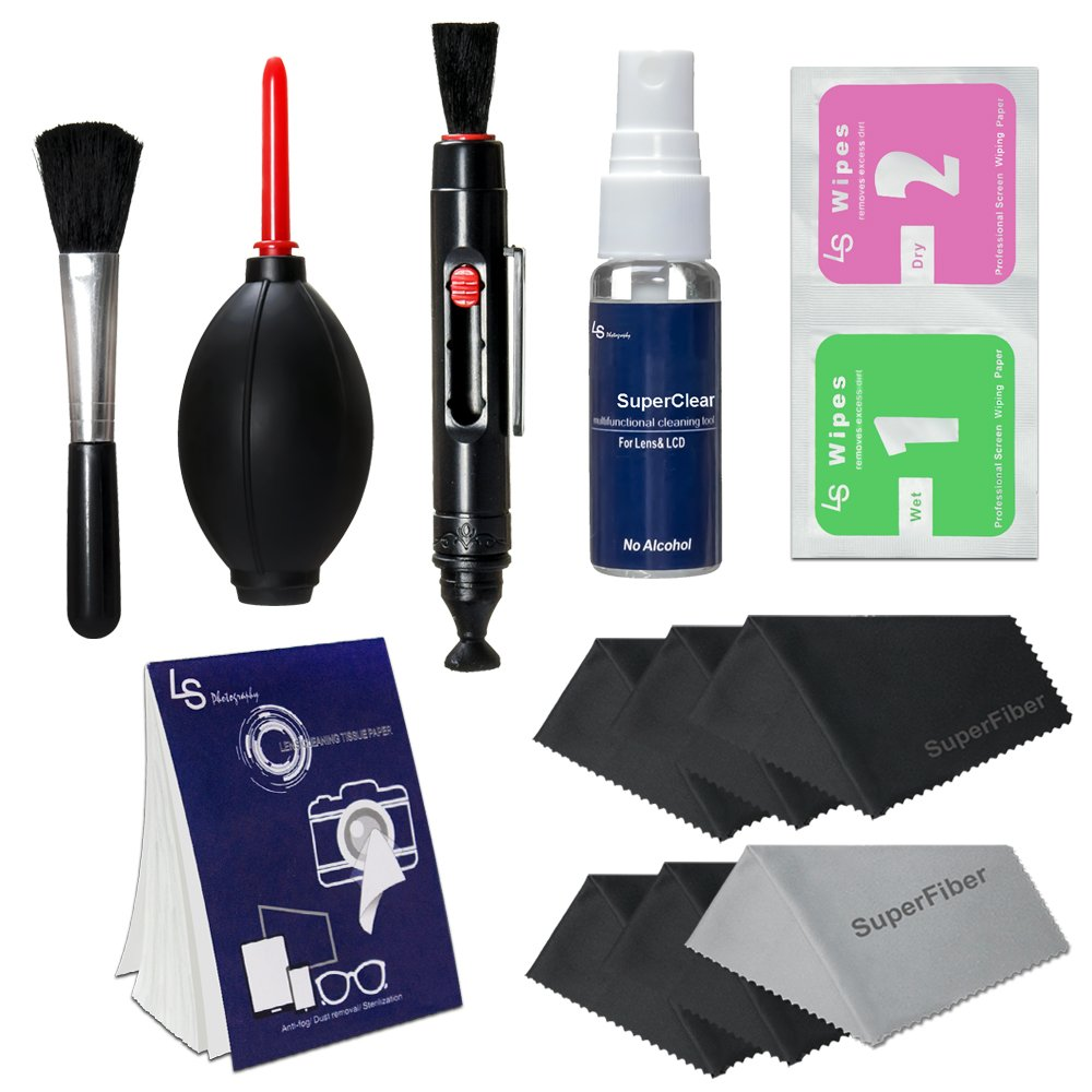 LS Photography Photo Camera Cleaning Brush Kit Cleaning Set for DSLR Cameras, Lens and Sensitive Electronics with (6 PCS.) 6'' x 7'' SuperFiber Lens Cleaning Cloth, LGG168