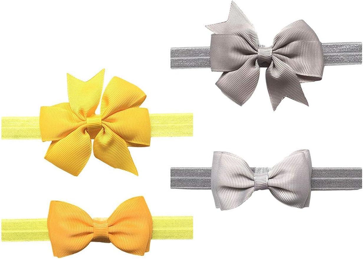 2pc/Set Baby Girls Grosgrain Ribbon Hairband Set Ribbon Bows Hair Tie Headband JB10