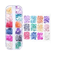 12 Colors Nail Art Holographic Glitter Shell Sequins Iridescent Mermaid Flakes Sticker...