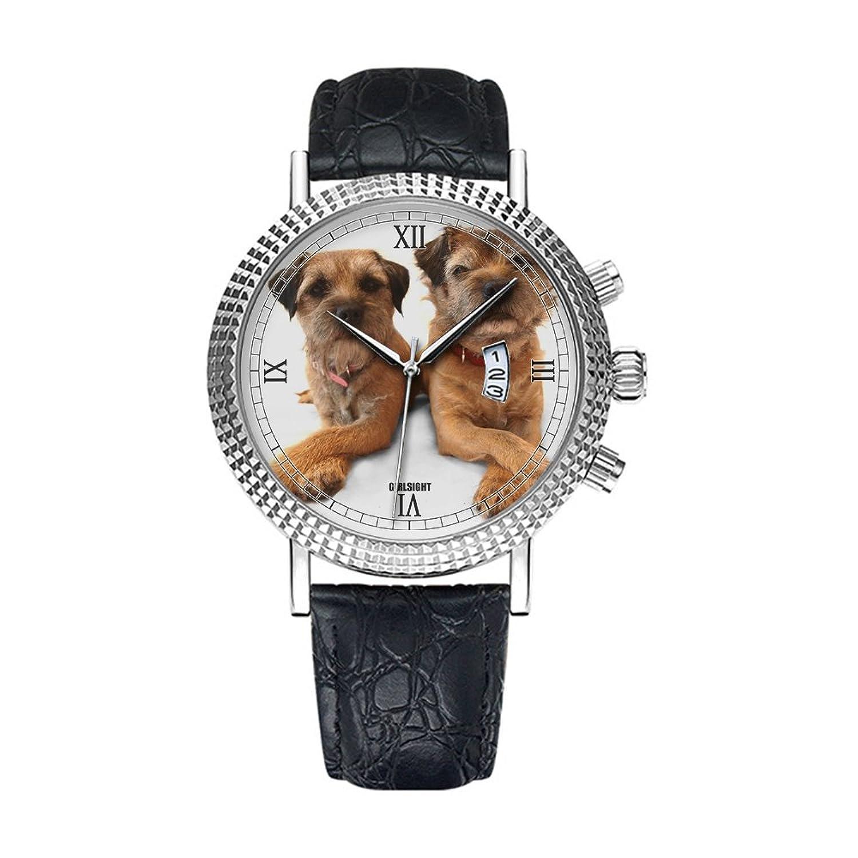 アナログクオーツ腕時計 – カレンダー日付シンクラシックカジュアルウォッチブラックレザーバンドLarge Face watches-personalityパターン216。Border Terrier Cross Paws B07DFBW9K3