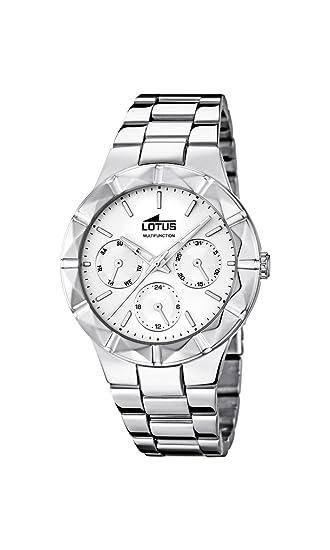 7a6acf4cb1cb Lotus 0 - Reloj de Cuarzo para Mujer, con Correa de Acero Inoxidable, Color  Plateado