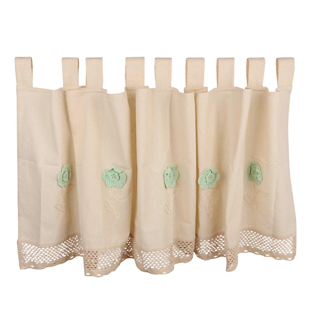 Baoblaze Country House Stile Corto Elegante Half Valance Tenda Finestra Fiore Uncinetto di Lino, Taglia Selezionabile - 45 * 150cm