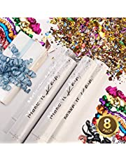 PRIMEPURE Premium Party Confetti Cannon - Set of 8 - (Includes 2 Streamer Cannons and 6 Confetti Poppers) For Birthday, Graduation, New Years Eve, and any other Party or Celebration