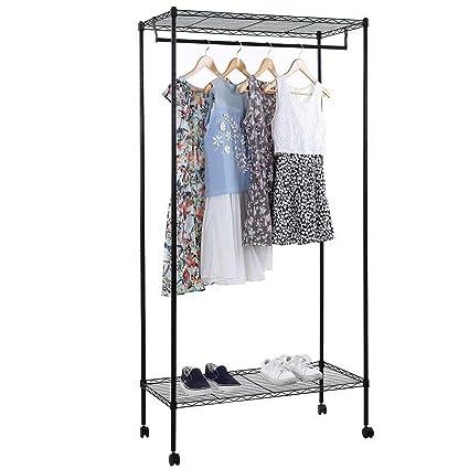 Cirocco Free Standing Closet Organizer W/ Wheel Black U2013  36u0026quot;x18u0026quot;x71u0026quot;
