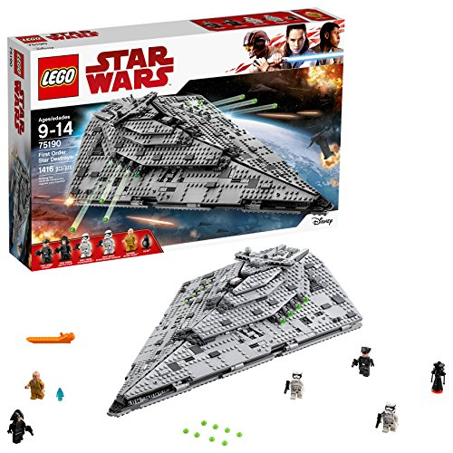 LEGO Star Wars Episode VIII First Order Star Destroyer 75190 Building Kit (1416 Piece) (Stars Bookshelf Stacking)