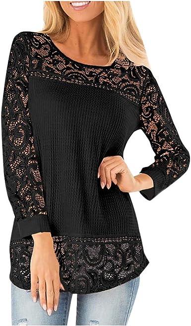 beautyjourney Camisa Elegante con Cuello Redondo y Manga Larga de Encaje para Mujer Blusas Huecas Casuales de Color Liso Tops Camisa de Punto: Amazon.es: Ropa y accesorios