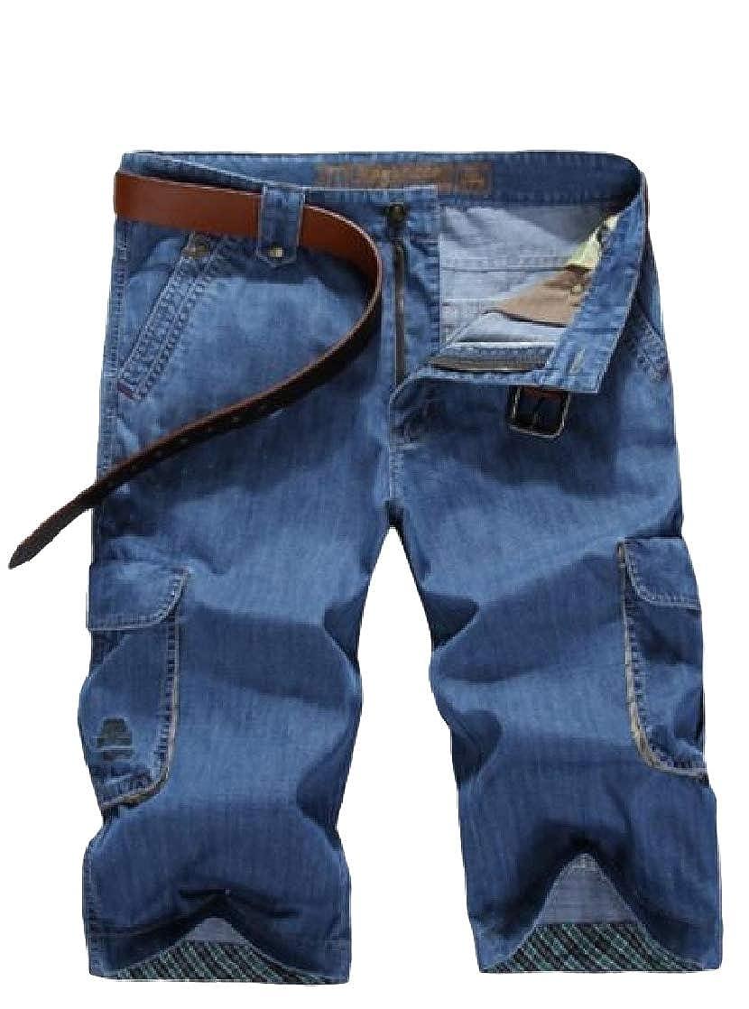 Joe Wenko Mens Capri Length Jean Denim Multi-Pockets Cargo Plus Size Short Pants