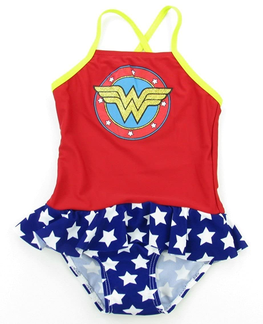 DC Comics Wonder Woman Shield Skirted 1 Piece Girls Bathing Suit