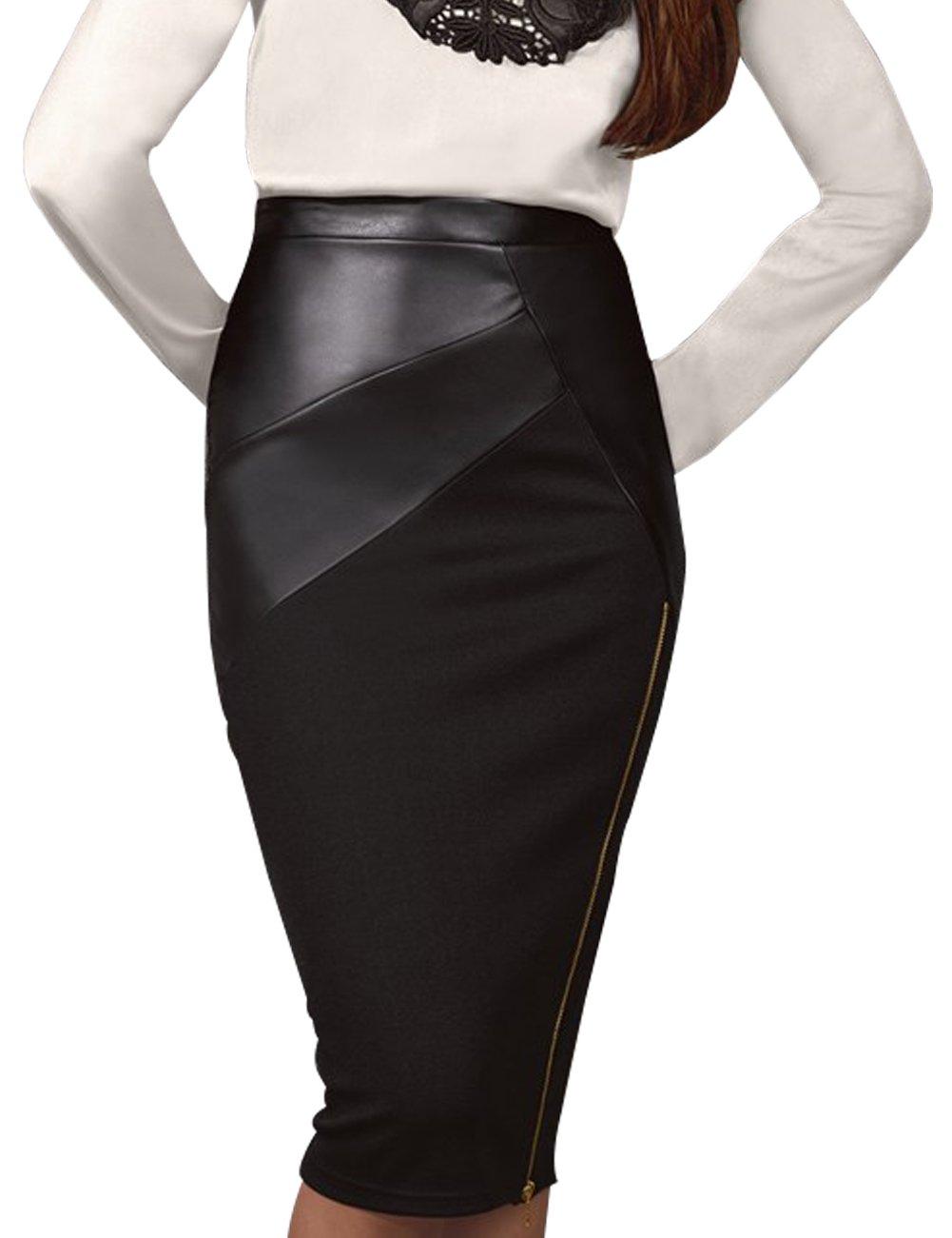 Just Quella Womens PU Slim Fit Pencil Skirt 8006 (S, Black)
