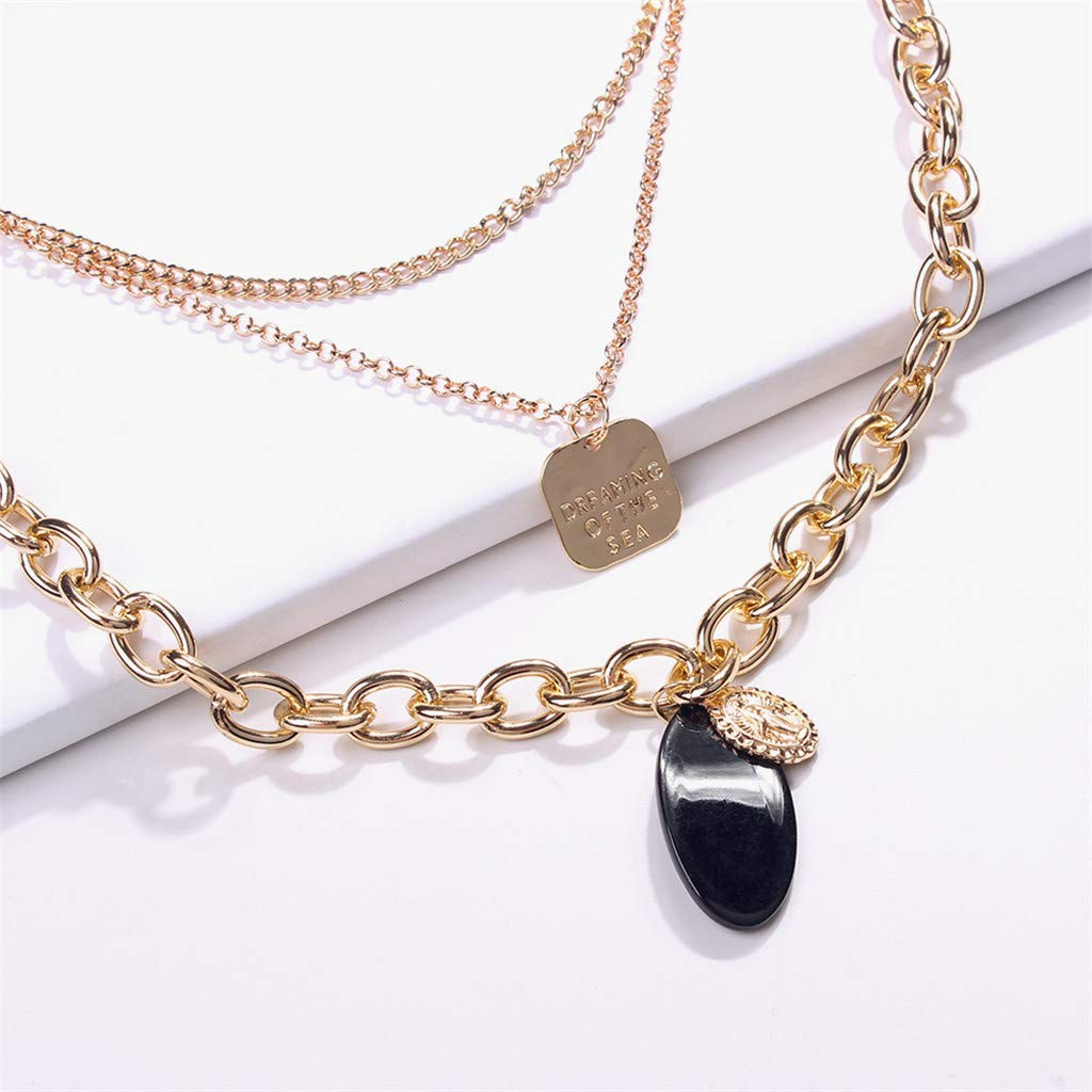New Trend Necklace,Onefa Fashion Simple European and American Trend Necklace Wild Ladies Fashion Jewelry Gold