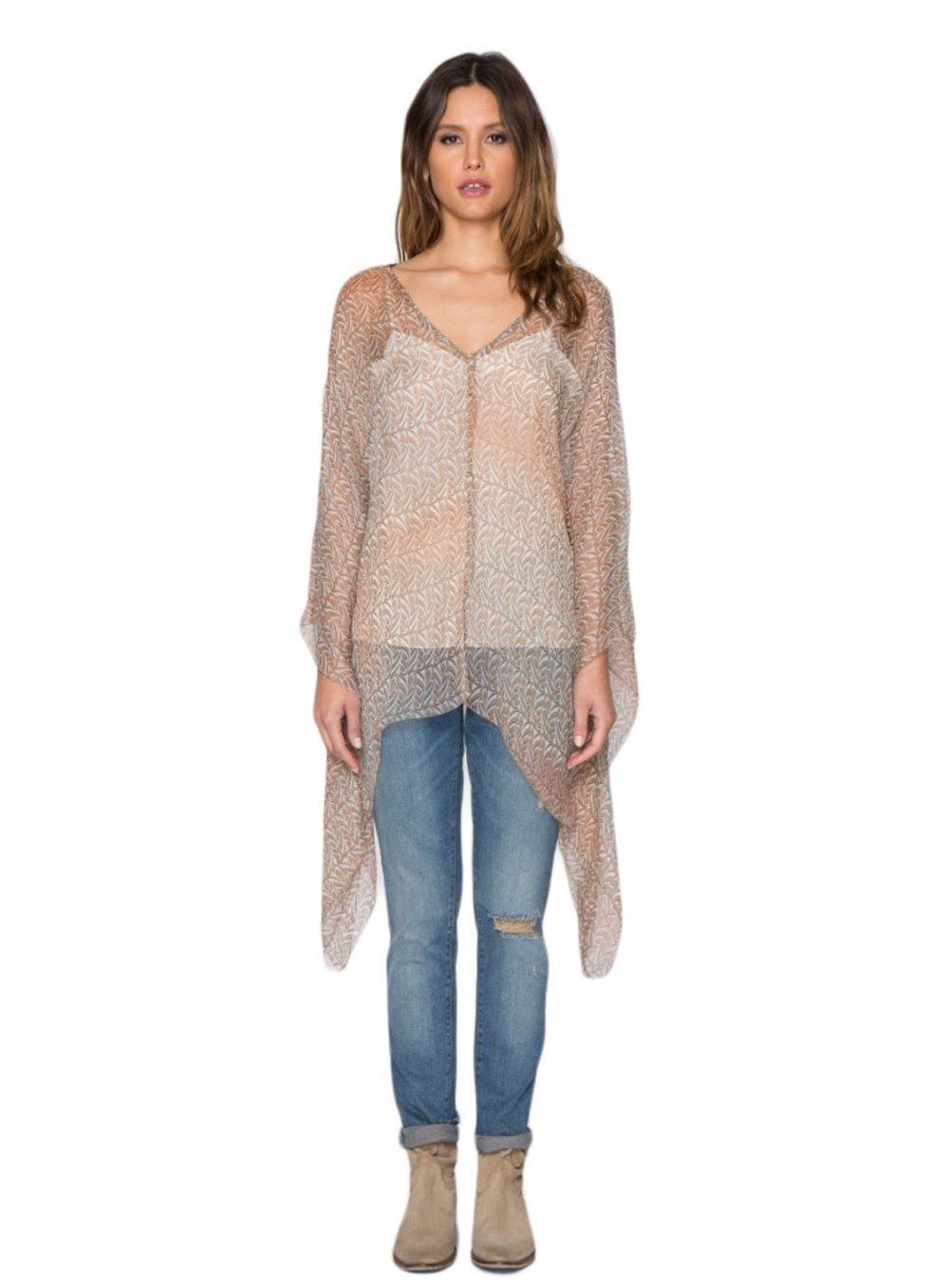 4 Love and Liberty by Johnny Was Paz Print Poncho (Small)