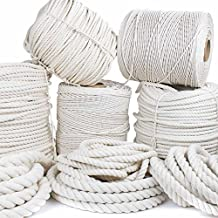 "GOLBERG Twisted 100% Natural Cotton Rope 3/16"", 7/32"", 1/4"", 5/16"", 3/8"", 1/2"", 5/8"", 3/4"", 1"", 1 1/4"", 1 1/2"" - White Cotton Rope - Several Lengths to Choose"