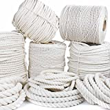 GOLBERG Twisted 100% Natural Cotton Rope 3/16'', 7/32'', 1/4'', 5/16'', 3/8'', 1/2'', 5/8'', 3/4'', 1'', 1 1/4'', 1 1/2'' - White Cotton Rope - Several Lengths to Choose