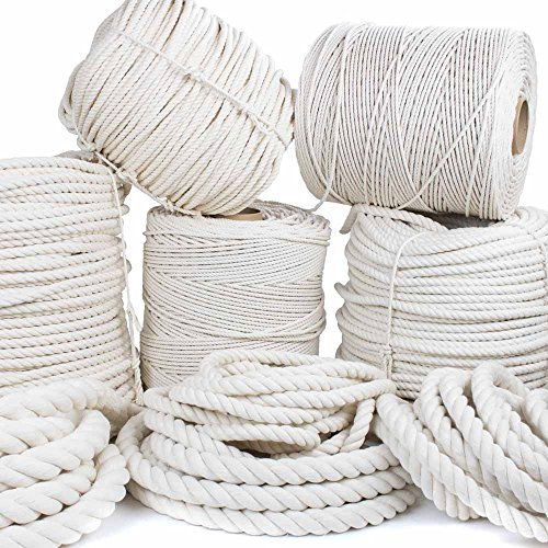 GOLBERG Twisted 100% Natural Cotton Rope 3/16, 7/32, 1/4, 5/16, 3/8, 1/2, 5/8, 3/4, 1, 1 1/4, 1 1/2 – White Cotton Rope – Several Lengths t…