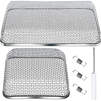 2 Pieces Flying Insect Screen RV Furnace Vent Cover (4.5 x 4.5 Inch)(8.5 x 6 Inch) Stainless Steel Mesh with Installation Tool