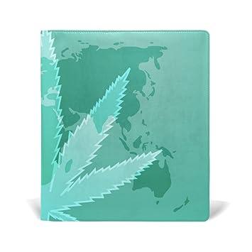 ALAZA La marihuana hoja de cannabis con la cubierta de libro de cuero mapa del mundo