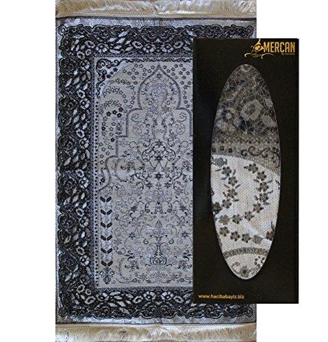 Islamic Prayer Mat - Ottoman Chenille - Turkish Muslim Namaz Sajadah Carpet Rug Woven Janamaz (Light Gray) by Modefa