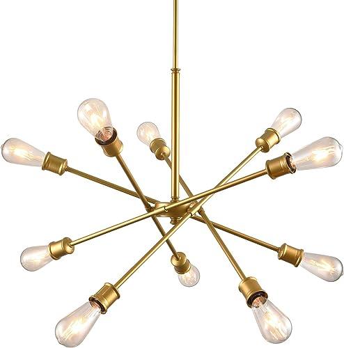 SEOL-LIGHT Sputnik 10 Lights Mid Century Chandelier Hanging Ceiling Large Gold Pendant Light Fixtures Brass Brushed