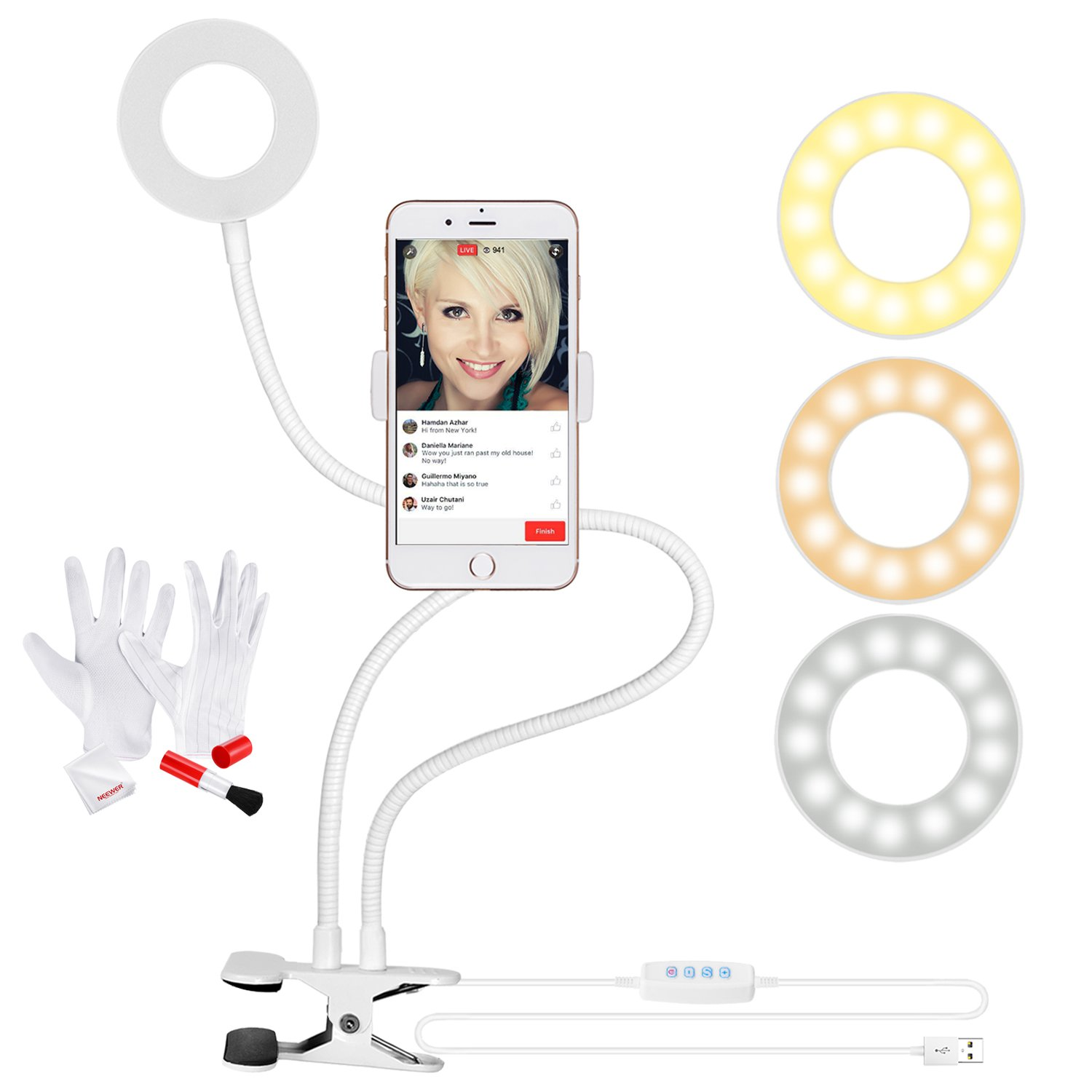 Neewer Clamp-on SelfieRing Light with Cell Phone Holder and 3-in-1 Cleaning Kit for Live Stream, Dimmable (3-Light Mode, 8-Level Brightness) with Lazy Bracket for YouTube, Facebook, iPhone, Samsung(White) 90092712