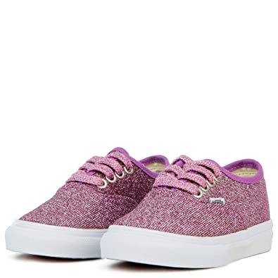 5854a140dc27 Image Unavailable. Image not available for. Color  Vans Kids Lurex Glitter  Pink True White Authentic Sneakers ...